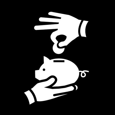giving money: vector depositing or giving money into piggy money bank savings icon | modern white flat design pictogram isolated on black background Illustration