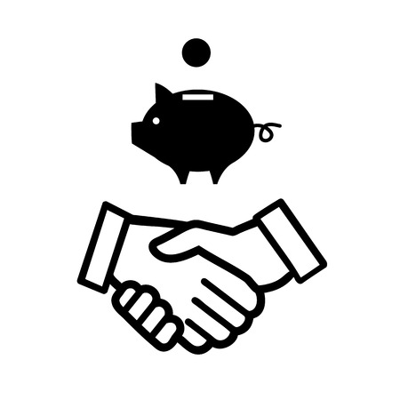 handshake icon: vector piggy money bank with handshake icon | modern black flat design pictogram isolated on white background Illustration