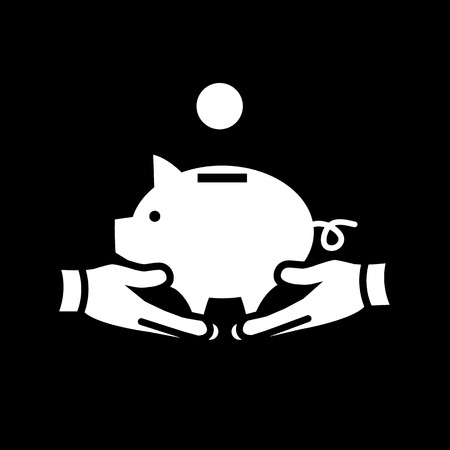 moneyed: holding piggy money bank with two hands vector icon | modern white flat design pictogram isolated on black background Illustration