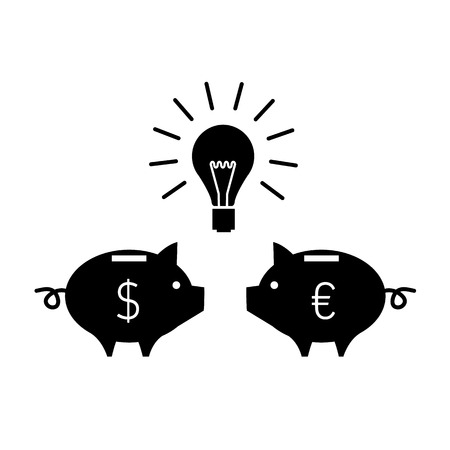 moneyed: vector two piggy moneybox communication and have a new idea with bulb icon | modern flat design black pictogram isolated on white background Illustration