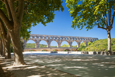 garde: Pont du Gard is an old Roman aqueduct near Nimes in Southern France, bridge over river Garde,