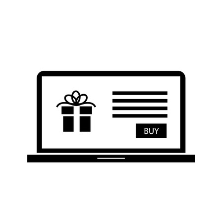 eshop: Vector christmas gift in e-shop website on laptop screen icon | black flat design pictogram isolated on white background Illustration