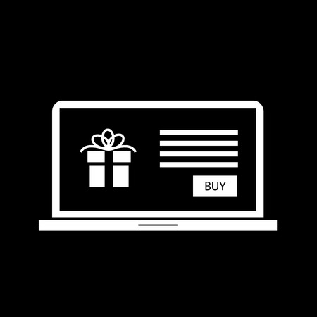 eshop: Vector christmas gift in e-shop website on laptop screen icon | white flat design pictogram isolated on black background Illustration