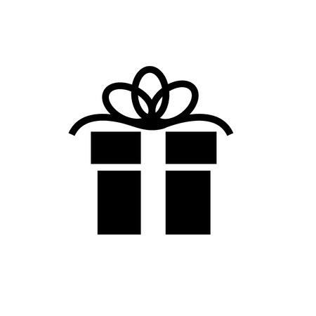 Vector christmas gift icon | black flat design pictogram isolated on white background