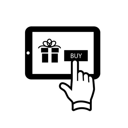 Vector ecommerce and online shopping on tablet icon | black flat design pictogram isolated on white background