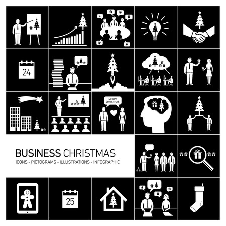Vector business christmas icons set of people in different funny situations in office | flat design white pictograms illustration and infographics isolated on black background Vector