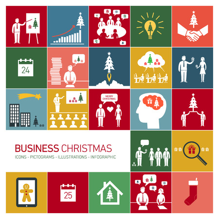 Vector business christmas icons set of people in different funny situations in office | flat design pictograms illustration and infographics isolated on colorful background Vector