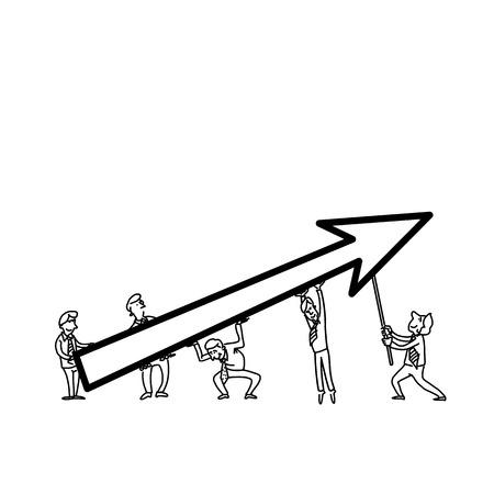 vector illustration of businessman cooperation concept | modern flat design black cartoon icon isolated on white background Illustration