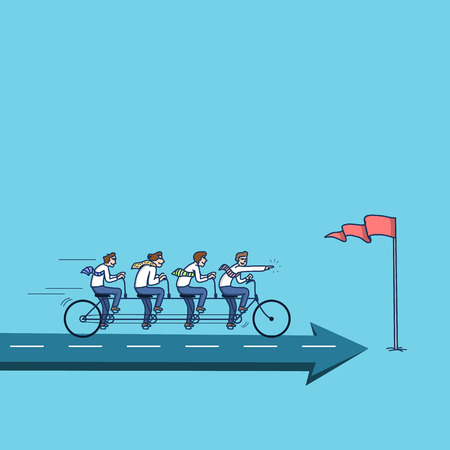 teamwork cartoon: simple vector illustration concept of businessman teamwork riding on bike to the goal marked with flag on arrow | modern flat design colorful cartoon icon isolated on blue background Illustration