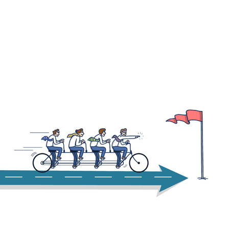bike riding: simple vector illustration concept of businessman teamwork riding on bike to the goal marked with flag on arrow | modern flat design colorful cartoon icon isolated on white background Illustration