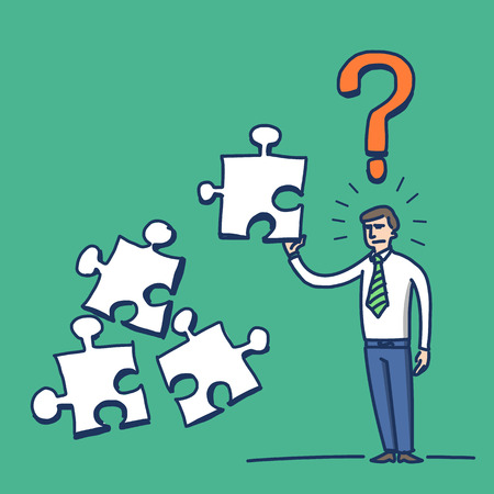 confused: simple vector illustration of confused businessman with puzzle in his hand and question mark above | modern flat design colorful cartoon icon isolated on green background