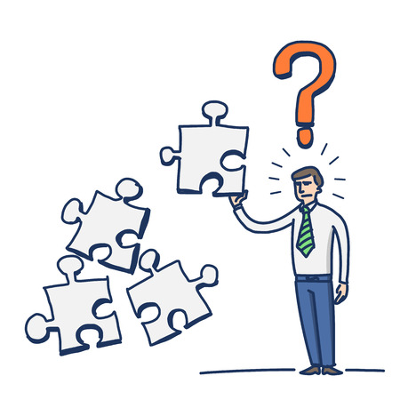 simple vector illustration of confused businessman with puzzle in his hand and question mark above | modern flat design colorful cartoon icon isolated on white background Vector