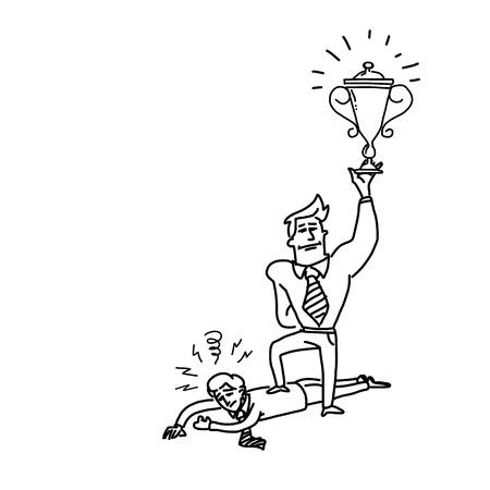 hombre pobre: ilustraci�n vectorial de negocios ganador altiva pie en pobre hombre humillado   simplemente moderna icono negro de dibujos animados dise�o plano aislado en fondo blanco