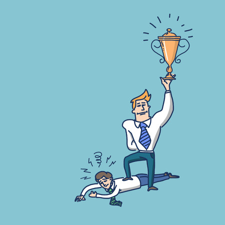 vector illustration of haughty winning businessman standing on humiliated poor man | simply modern flat design colorful cartoon icon isolated on blue background