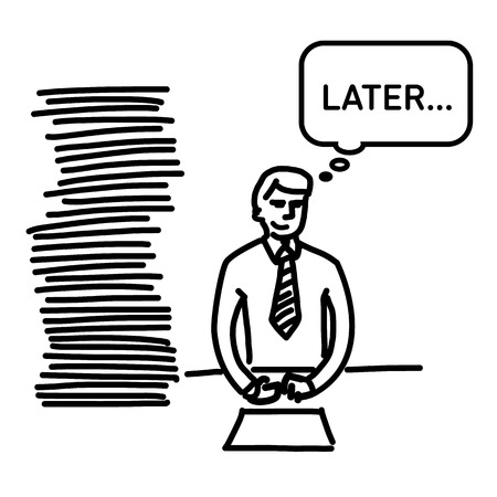 personality development: vector illustration procrastination businessman which delay his work for later | simple modern flat design black cartoon icon isolated on white background