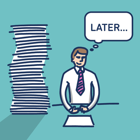 delay: vector illustration procrastination businessman which delay his work for later   simply modern flat design colorful cartoon icon isolated on green background