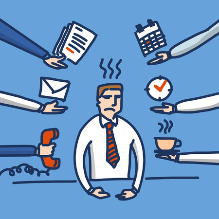 under pressure: vector illustration of stressed and depressed businessman under pressure in his office   simply modern flat design colorful cartoon icon isolated on blue background Illustration