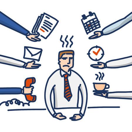 ilustración vectorial de negocios estresado y deprimido bajo presión en su despacho | sencilla colorido icono de dibujos animados diseño plano moderno aislado en el fondo blanco