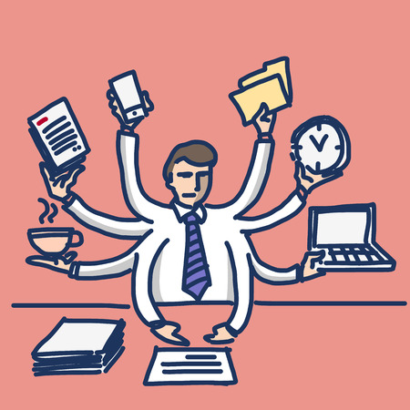 overworked: vector illustration of businessman worcaholism and multitasking | simply modern flat design colorful cartoon icon isolated on red background