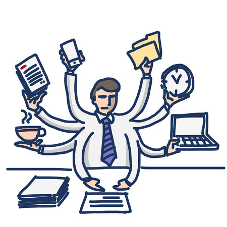 busy office: vector illustration of businessman worcaholism and multitasking | simply modern flat design colorful cartoon icon isolated on white background