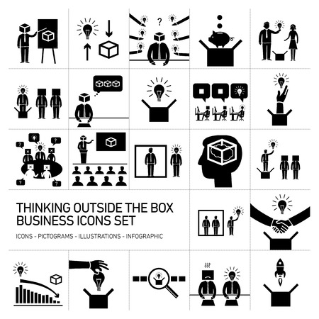 contemplate: thinking outside the box vector business icons set | modern flat design conceptual pictograms and illustrations isolated on white background