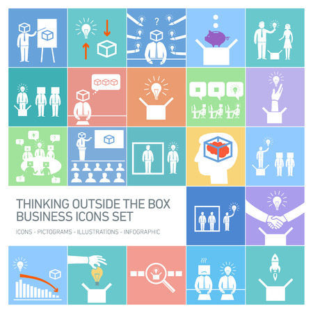 contemplate: thinking outside the box vector business icons set | modern flat design conceptual white pictograms and illustrations isolated on colorful background