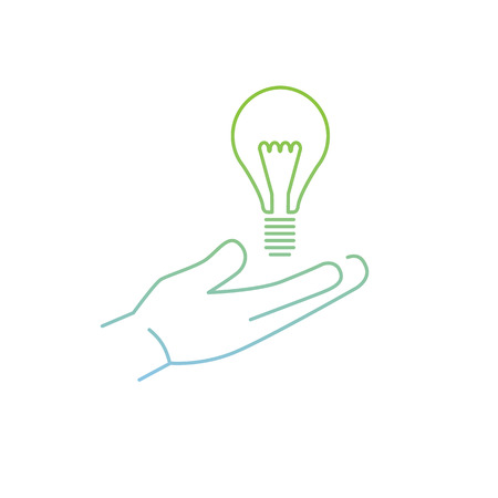 thin bulb: vector modern flat design linear icon of bulb in hand gesture | thin line pictogram with green and blue gradient isolated on white background