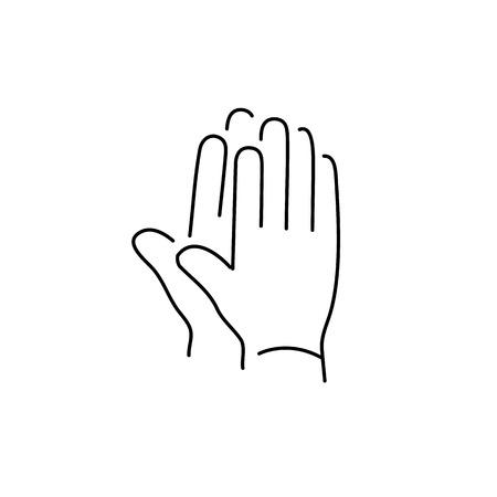 zooming: vector modern flat design linear icon of clapping hands gesture | black thin line pictogram isolated on white background