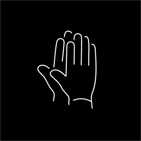 clapping: vector modern flat design linear icon of clapping hands gesture | white thin line pictogram isolated on black background Illustration