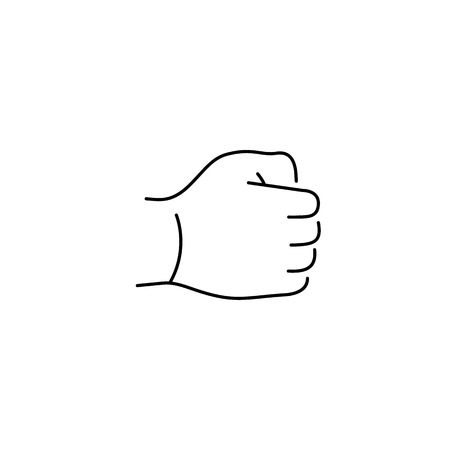 pinch: vector modern flat design linear icon of hand in a fist gesture | black thin line pictogram isolated on white background