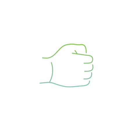 zooming: vector modern flat design linear icon of hand in a fist gesture | thin line pictogram with green and blue gradient isolated on white background
