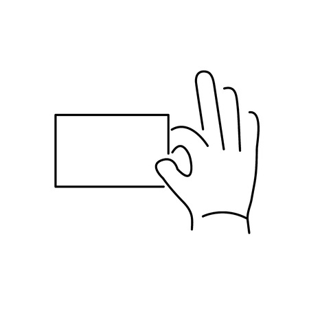 zooming: vector modern flat design linear icon of hand holding a card gesture | black thin line pictogram isolated on white background