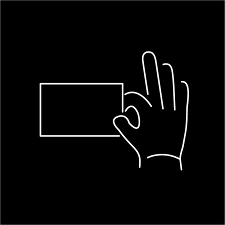 zooming: vector modern flat design linear icon of hand holding a card gesture | white thin line pictogram isolated on black background
