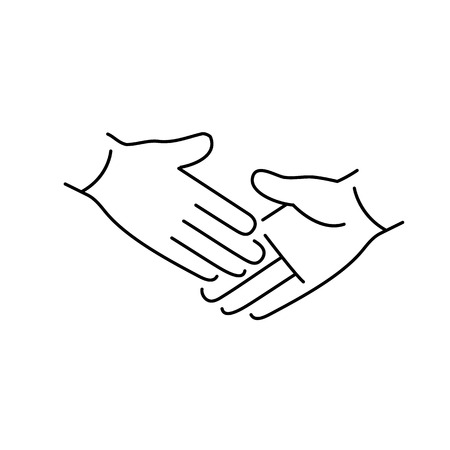 zooming: vector modern flat design linear icon of handshake touch gesture | black thin line pictogram isolated on white background