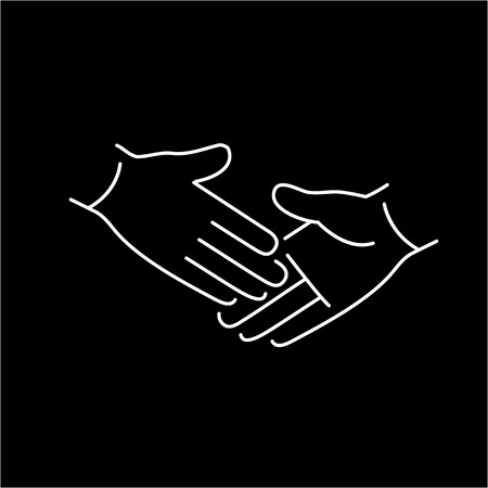 handshake icon: vector modern flat design linear icon of handshake touch gesture | white thin line pictogram isolated on black background
