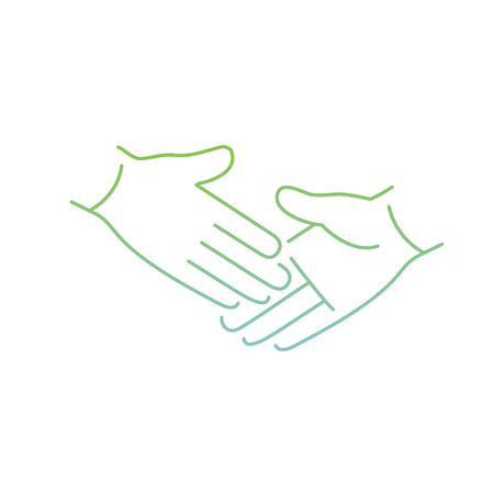 pinch: vector modern flat design linear icon of handshake touch gesture | thin line pictogram with green and blue gradient isolated on white background