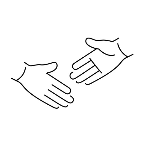 zooming: vector modern flat design linear icon of handshake gesture | black thin line pictogram isolated on white background