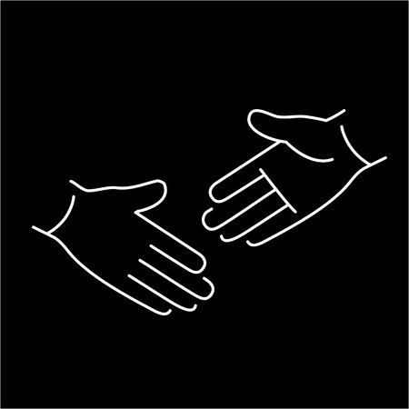 zooming: vector modern flat design linear icon of handshake gesture | white thin line pictogram isolated on black background Illustration