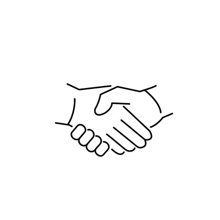vector modern flat design linear icon of handshake gesture | black thin line pictogram isolated on white background