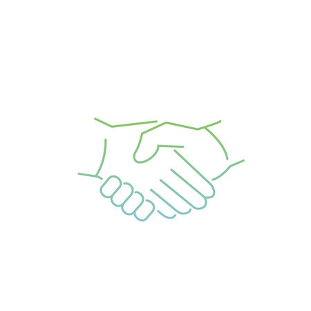 zooming: vector modern flat design linear icon of handshake gesture | thin line pictogram with green and blue gradient isolated on white background
