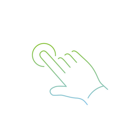 zooming: vector modern flat design linear icon of one finger tapping hand gesture | thin line pictogram with green and blue gradient isolated on white background