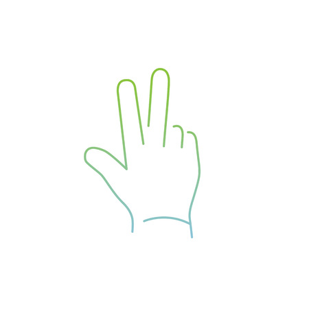 zooming: vector modern flat design linear icon of peace hand gesture | thin line pictogram with green and blue gradient isolated on white background