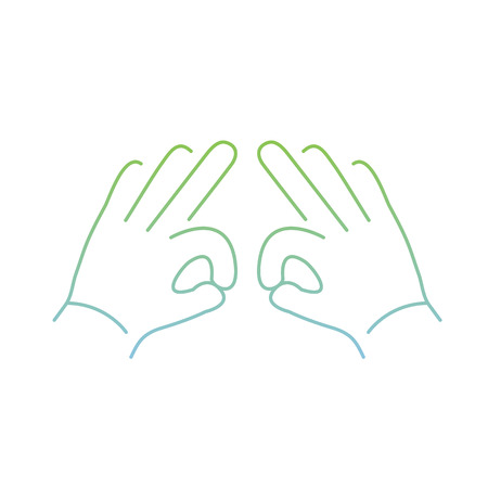 zooming: vector modern flat design linear icon of two hands creasing gesture | thin line pictogram with green and blue gradient isolated on white background Illustration