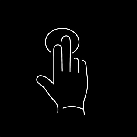 tapping: vector modern flat design linear icon of tapping hand with two fingers gesture | white thin line pictogram isolated on black background
