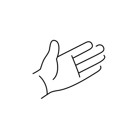 zooming: vector modern flat design linear icon of open hand palm gesture | black thin line pictogram isolated on white background