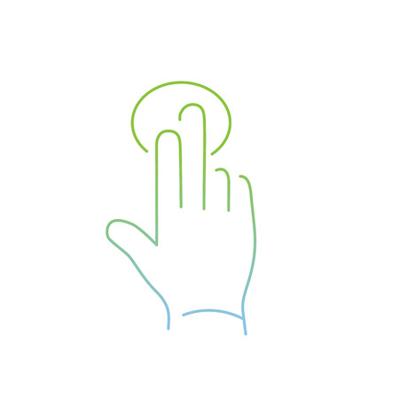 zooming: vector modern flat design linear icon of tapping hand with two fingers gesture | thin line pictogram with green and blue gradient isolated on white background