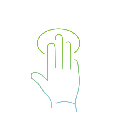 tapping: vector modern flat design linear icon of tapping hand with three fingers gesture | thin line pictogram with green and blue gradient isolated on white background Illustration