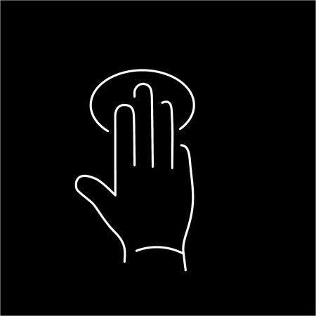 tapping: vector modern flat design linear icon of tapping hand with three fingers gesture | white thin line pictogram isolated on black background