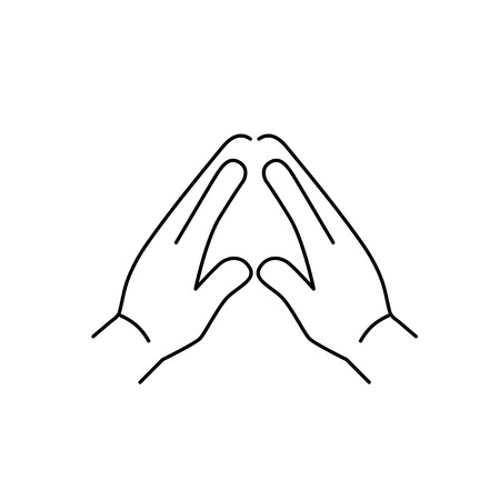 pinch: vector modern flat design linear icon of praying hand gesture | black thin line pictogram isolated on white background Illustration