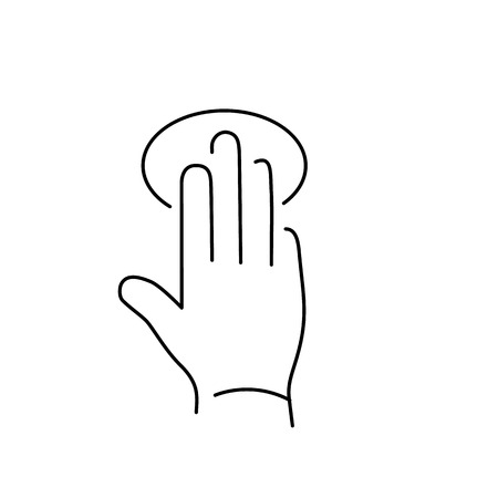 tapping: vector modern flat design linear icon of tapping hand with three fingers gesture | black thin line pictogram isolated on white background Illustration
